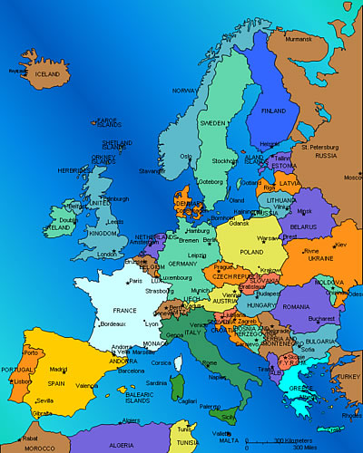 Map Of European Countries And Their Capitals