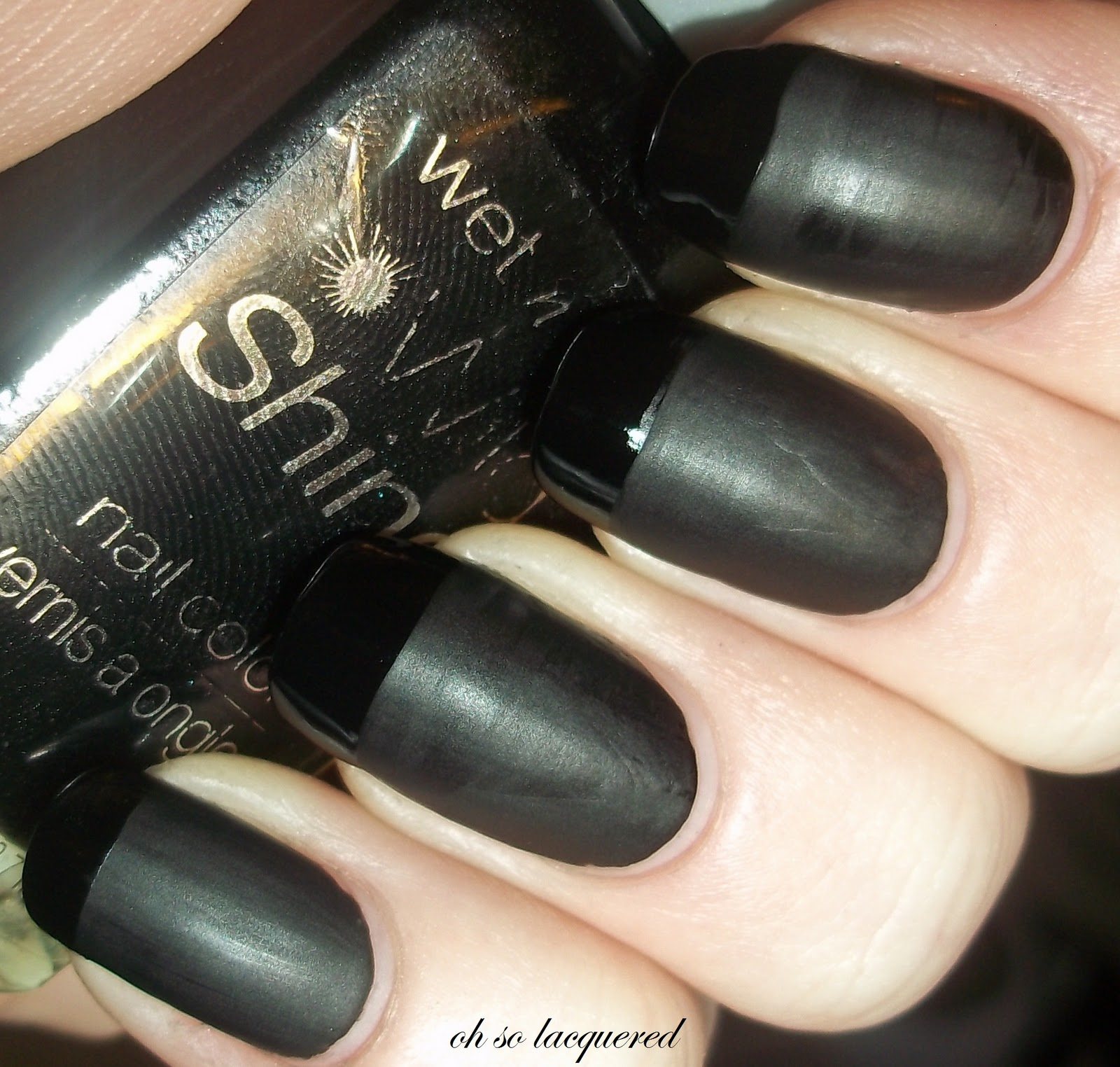 Matte Black Nail Polish With Shiny Tips
